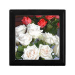Red and white roses floral arrangement trinket box