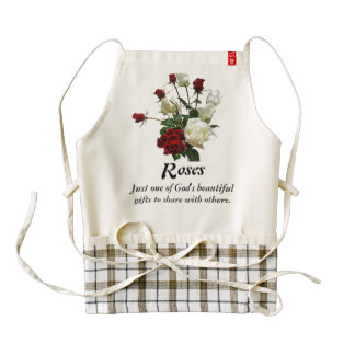 Red and White Roses - Grow and Share Zazzle HEART Apron
