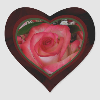 Red and White Roses Heart 1b Heart Sticker