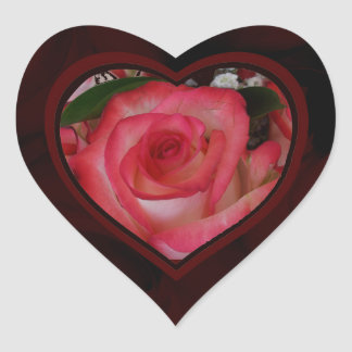 Red and White Roses Heart 1c Heart Sticker