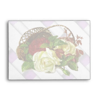 Red and White Roses in a Basket Stationary Envelop Envelope
