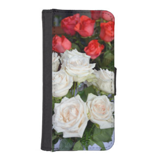 Red and white roses iphone wallet case phone wallets