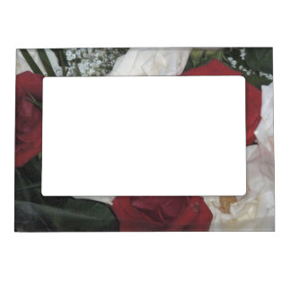 Red and White Roses Magnetic Frame
