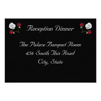 Red and White Roses reception card Invite