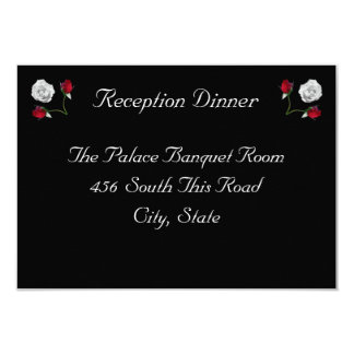 """Red and White Roses reception card 3.5"""" X 5"""" Invitation Card"""