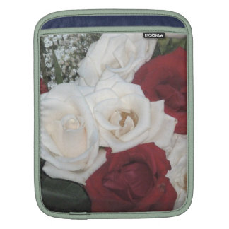 Red and White Roses Rickshaw Sleeve Sleeves For iPads