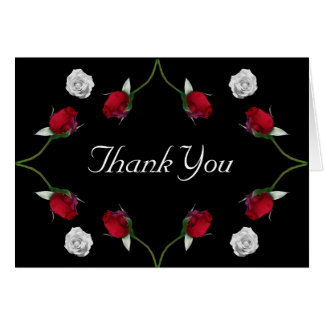 Red and White Roses thank you card