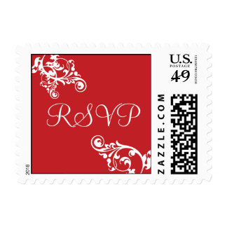 Red and White RSVP Flourish Postage