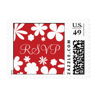 Red and White RSVP Flower Power Postage