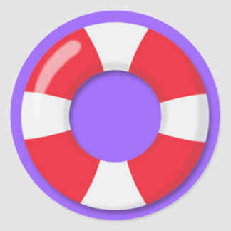 Red and White Rubber Floatie Classic Round Sticker