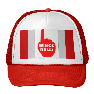 RED AND WHITE RULE TRUCKER HAT