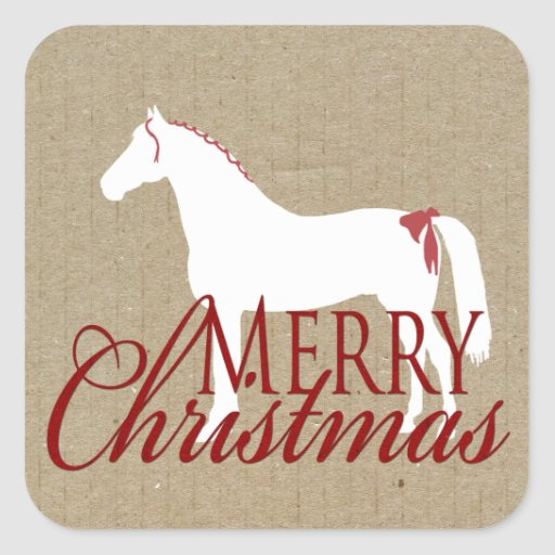 Red and White Rustic Horse Christmas Sticker