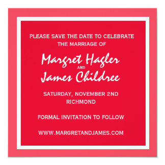 Red and White Save the Date Personalized Invite
