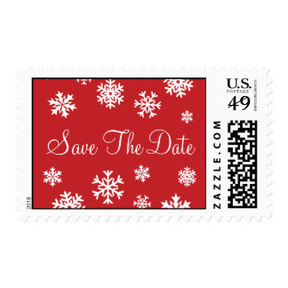 Red and White Save The Date Snowflakes Postage