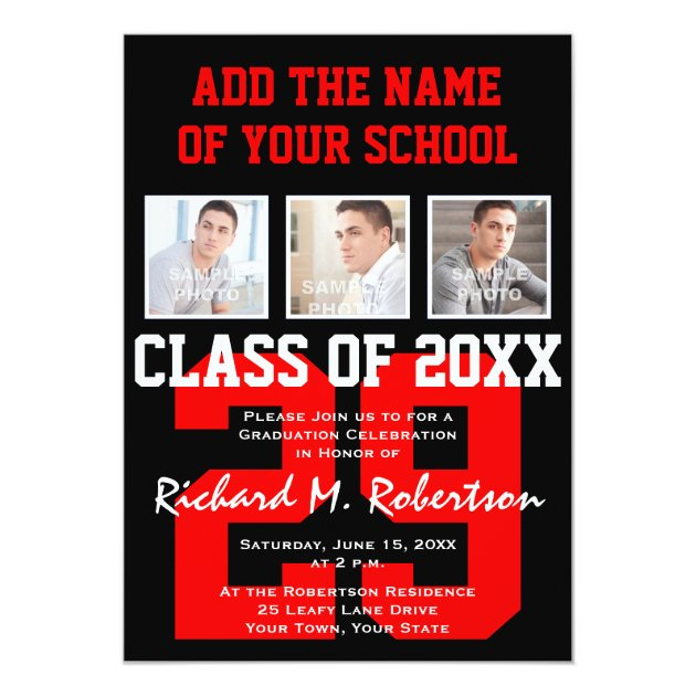 Red and White School Colors Sports Graduation 5x7 Paper Invitation Card (back side)