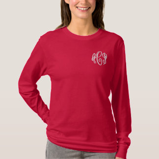 Red and White Script Embroidered Monogram Embroidered Long Sleeve T-Shirt