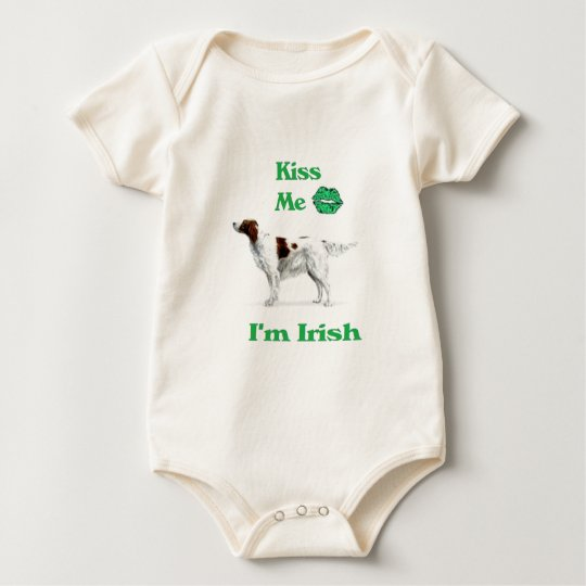 Red and White Setter-Kiss me I'm Irish Baby Bodysuit