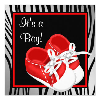 Red and White Shoes Red Zebra Baby Boy Shower 5.25x5.25 Square Paper Invitation Card