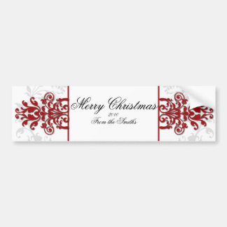 Red and White Silver Damask Car Bumper Sticker