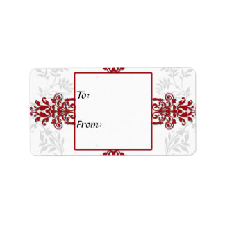 Red and White Silver Damask Personalized Address Label
