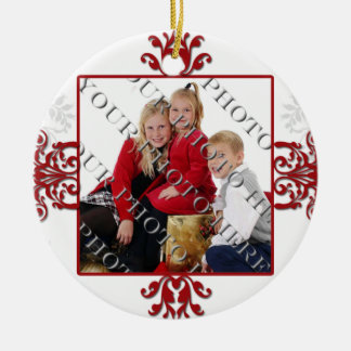 Red and White Silver Damask Photo Double-Sided Ceramic Round Christmas Ornament