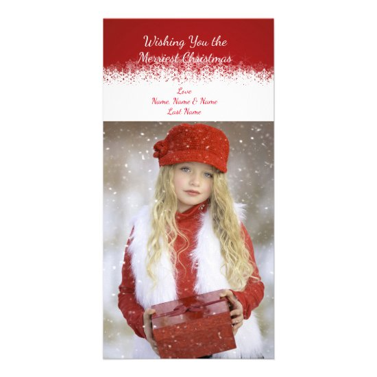 Red and White Simple Snowflake Photo Card