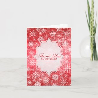 Red and White Snow Flakes Thank You Card