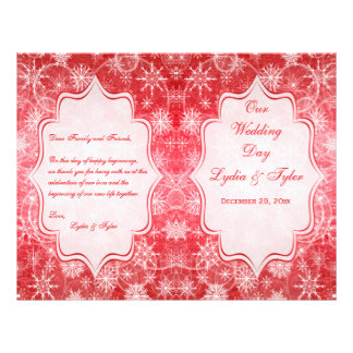 Red and White Snow Flakes Wedding Program