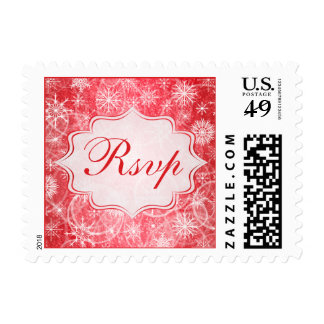 Red and White Snow Flakes Wedding RSVP Postage