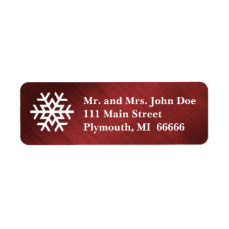 Red and White Snowflake Address Label