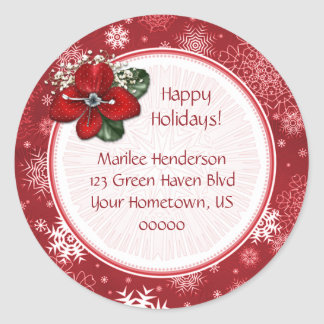 Red and White Snowflake Address Sticker
