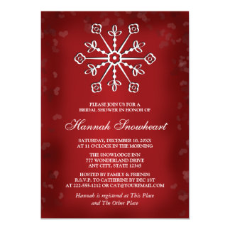 RED AND WHITE SNOWFLAKE BRIDAL SHOWER CARD