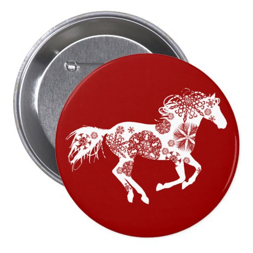 Red and White Snowflake Christmas Horse Pin
