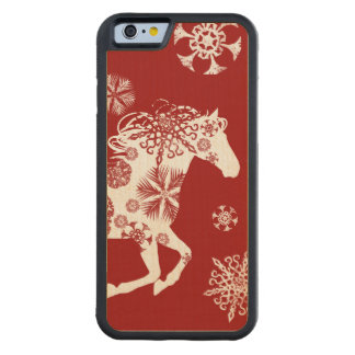 Red and White Snowflake Christmas Horse Carved® Maple iPhone 6 Bumper