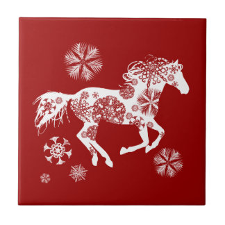 Red and White Snowflake Christmas Horse Ceramic Tile