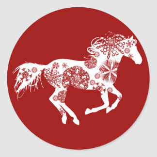 Red and White Snowflake Christmas Horse Classic Round Sticker
