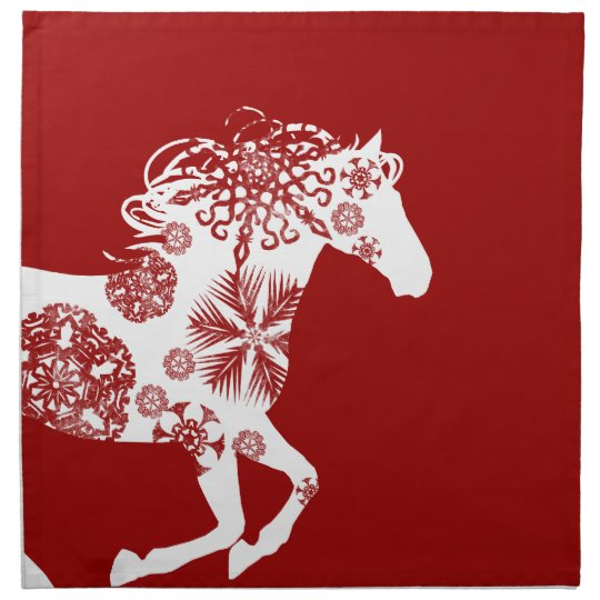 Red and White Snowflake Christmas Horse Cloth Napkin