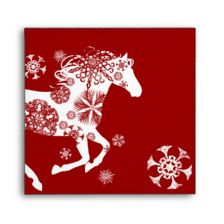 Red and White Snowflake Christmas Horse Envelopes