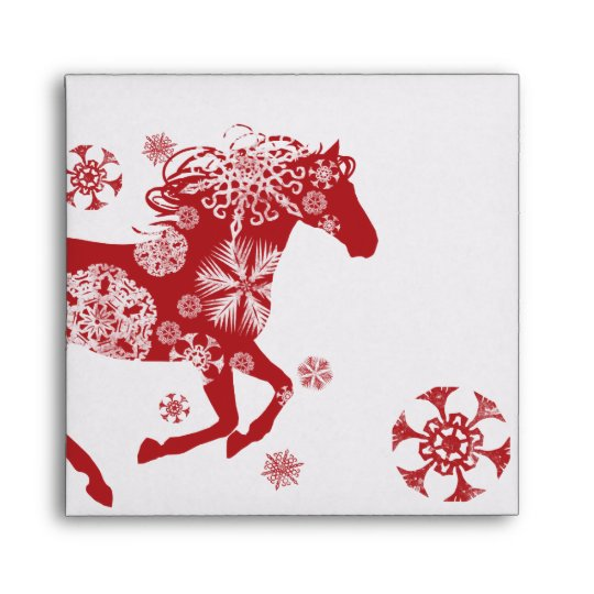 Red and White Snowflake Christmas Horse Envelope