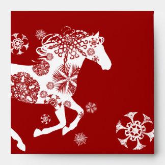 Red and White Snowflake Christmas Horse Envelopes