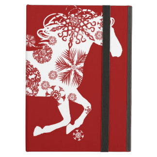 Red and White Snowflake Christmas Horse iPad Air Cover