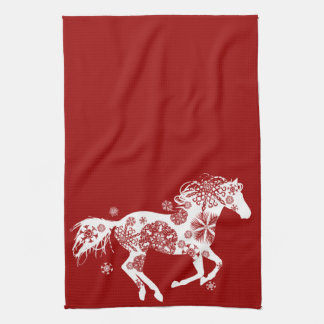 Red and White Snowflake Christmas Horse Kitchen Towel