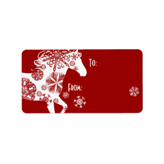 Red and White Snowflake Christmas Horse Label