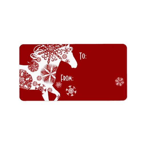 Red and white snowflake christmas horse label zazzle