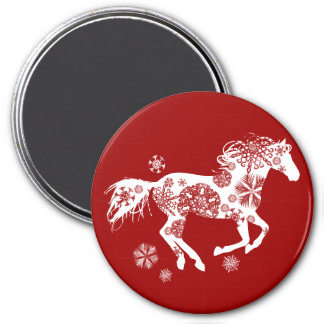 Red and White Snowflake Christmas Horse Fridge Magnets
