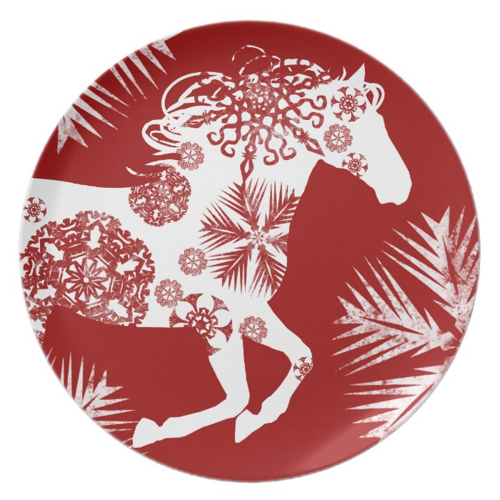 Red and White Snowflake Christmas Horse Melamine Plate