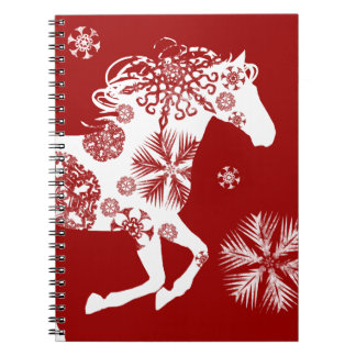 Red and White Snowflake Christmas Horse Notebook