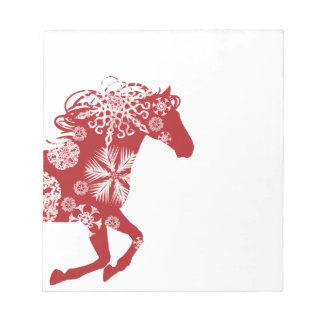 Red and White Snowflake Christmas Horse Notepad