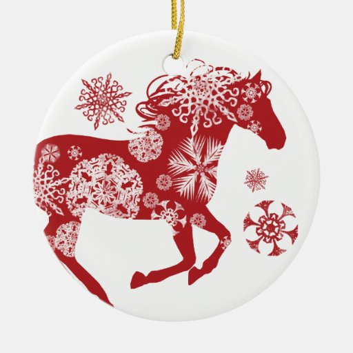 Red and White Snowflake Christmas Horse Ornament