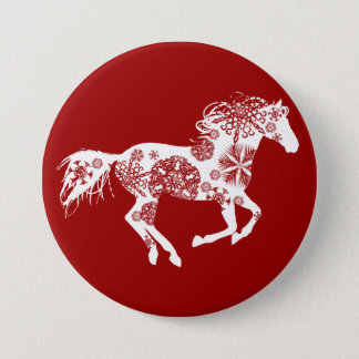 Red and White Snowflake Christmas Horse Pinback Button
